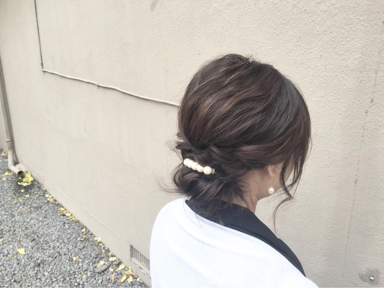 大人女子 ヘアアクセ 簡単ヘアアレンジ ショートヘアスタイルや髪型の写真・画像