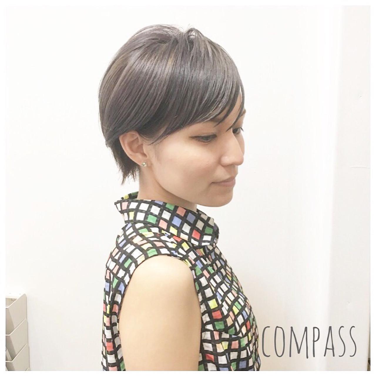 ショート グレージュ 外国人風カラー リラックスヘアスタイルや髪型の写真・画像