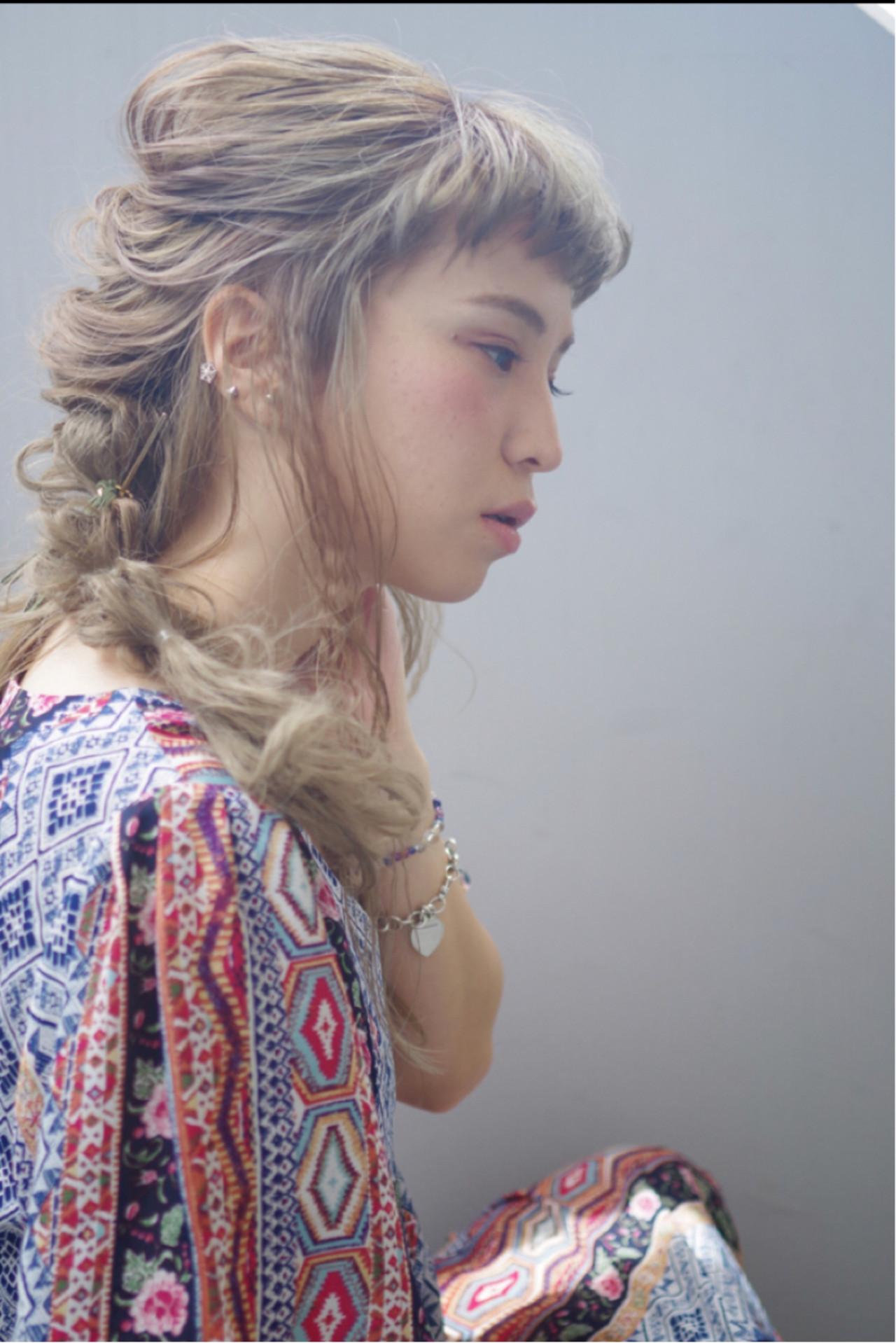 編み込み ロング ヘアアレンジ ギブソンタック ヘアスタイルや髪型の写真・画像 | ken / sora