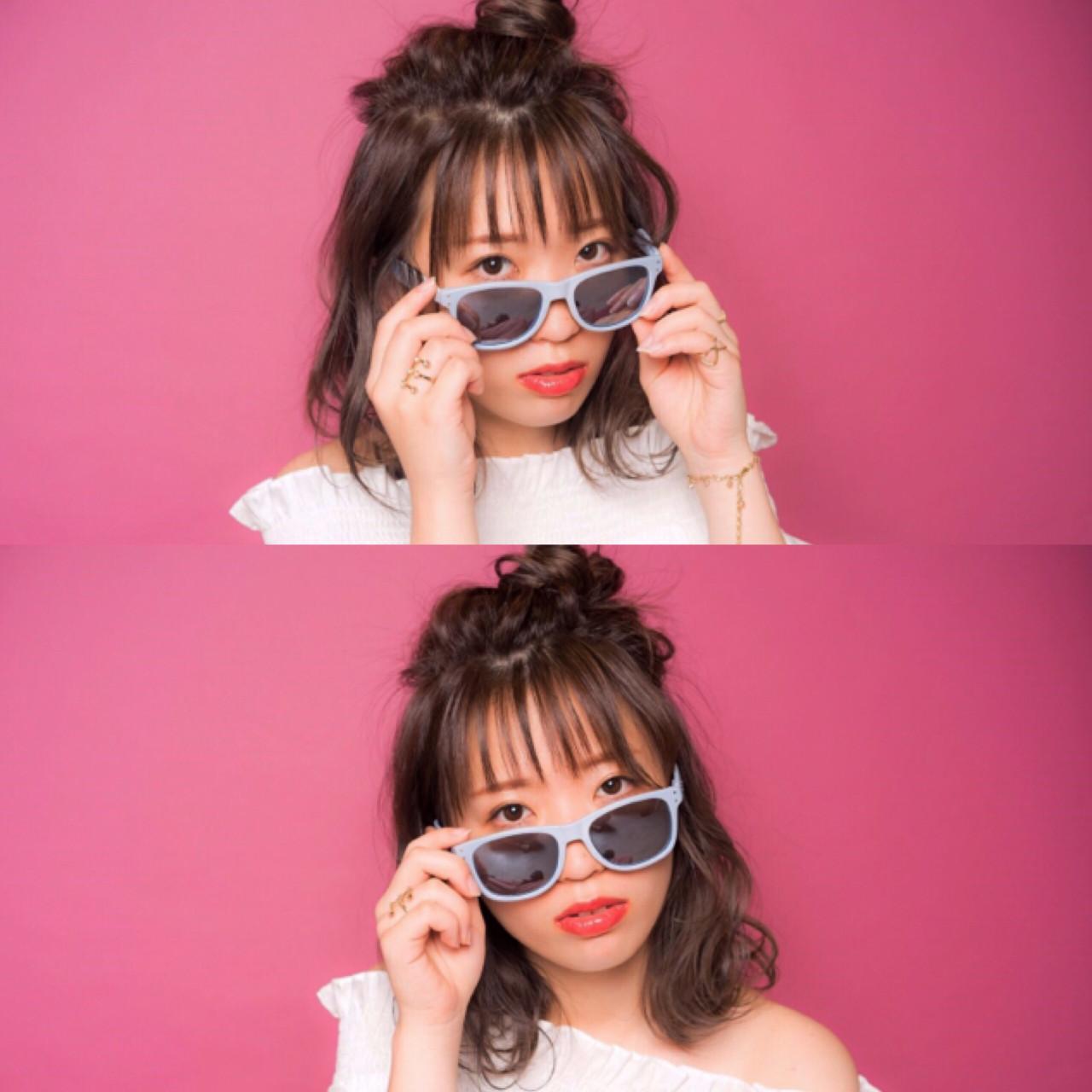 フェミニン ハイライト ハーフアップ お団子 ヘアスタイルや髪型の写真・画像 | 宮本 英里香 /
