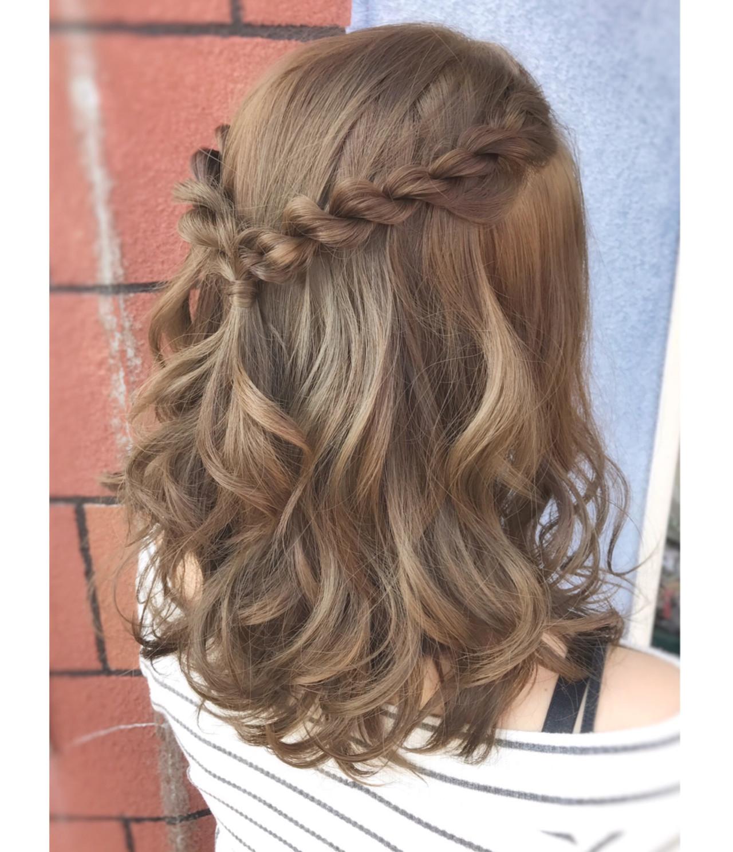 外国人風 結婚式 ヘアアレンジ ハーフアップ ヘアスタイルや髪型の写真・画像 | サワ / Seamu