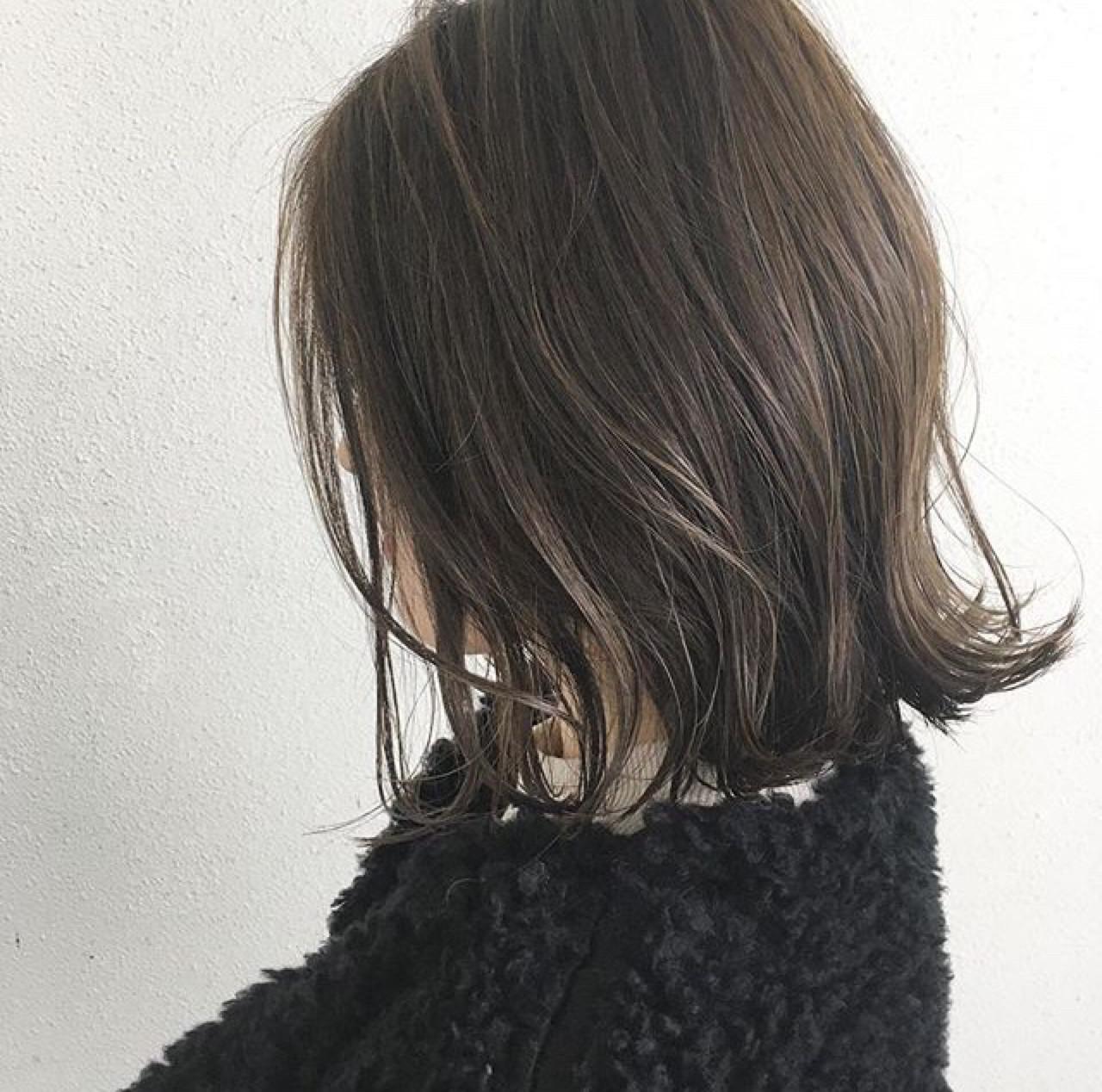ハイライト ナチュラル ボブ 切りっぱなしヘアスタイルや髪型の写真・画像