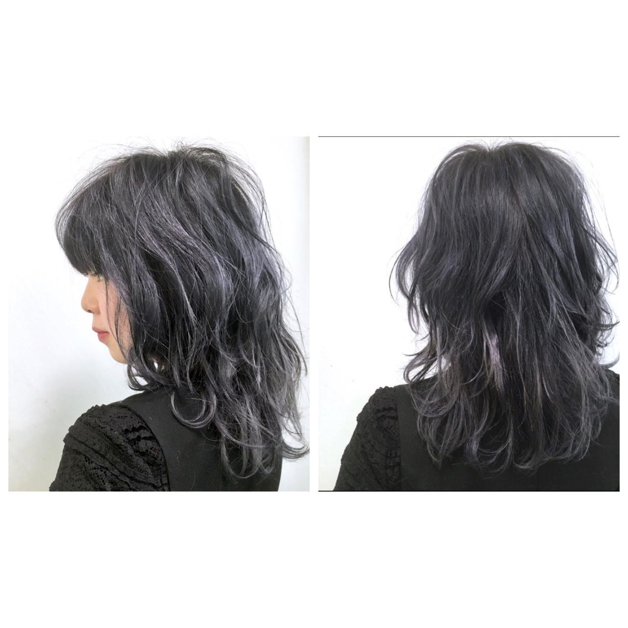 セミロング グレー ミディアム ストリート ヘアスタイルや髪型の写真・画像 | Daichi shimazu / hairsalon M 大宮