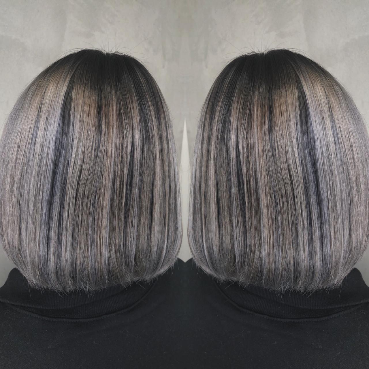 グラデーションカラー バレイヤージュ ボブ 外国人風カラーヘアスタイルや髪型の写真・画像