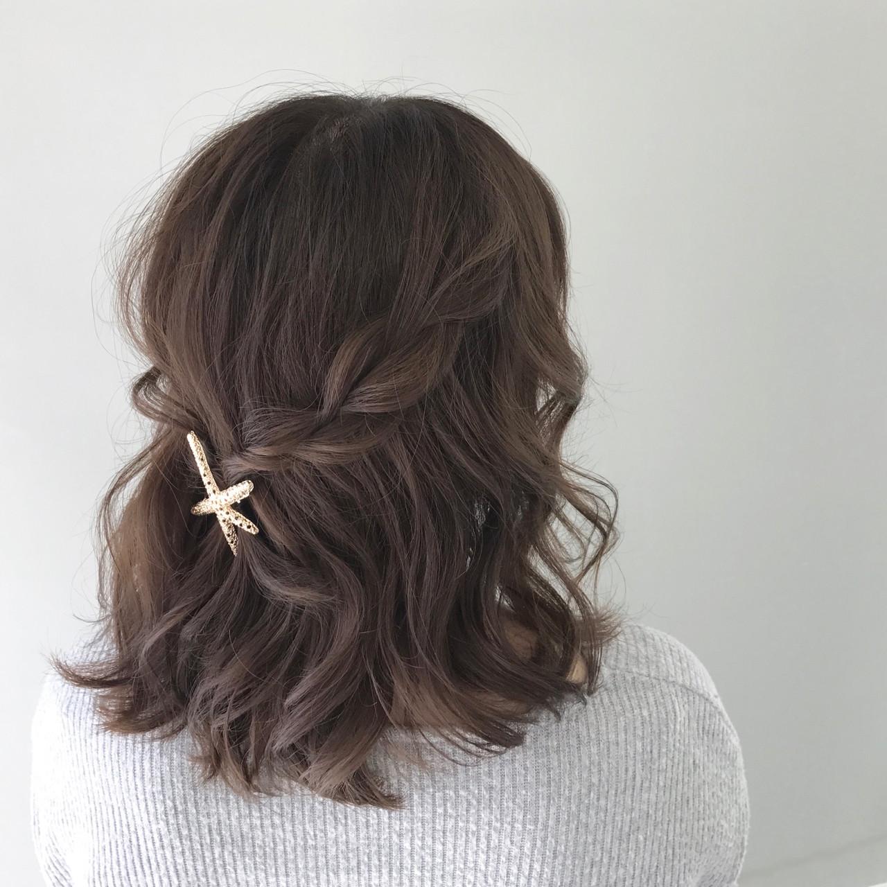 ハーフアップ ヘアアレンジ 簡単ヘアアレンジ ボブヘアスタイルや髪型の写真・画像