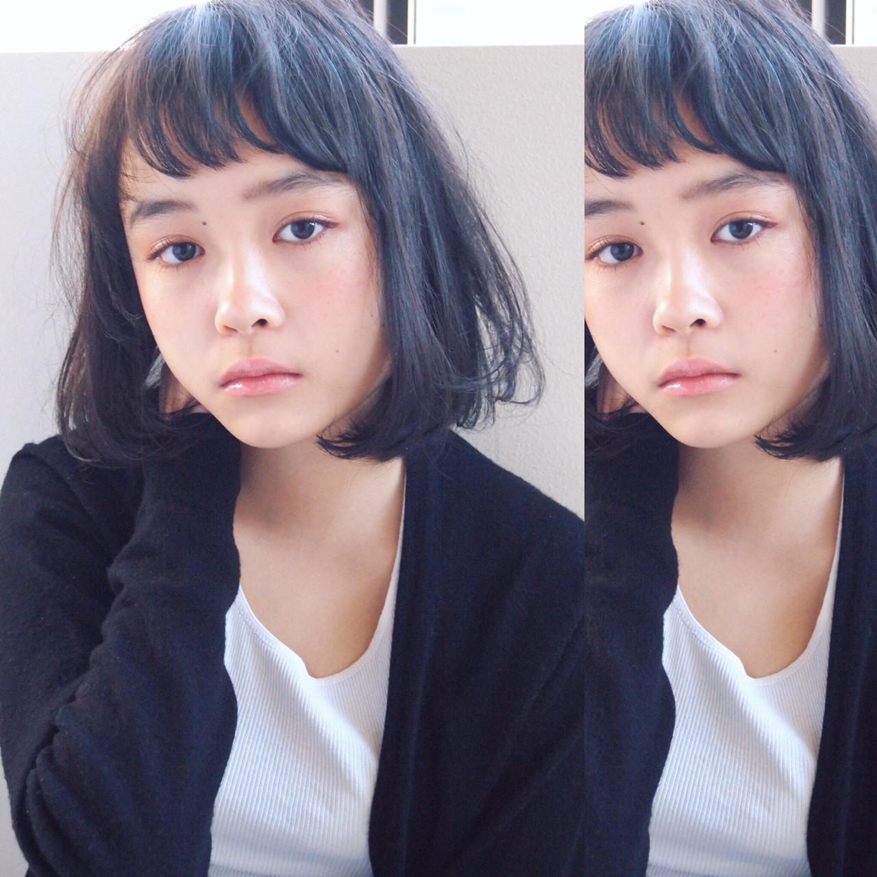 ナチュラル 暗髪 前下がり ミディアム ヘアスタイルや髪型の写真・画像   UEKI/nanuk / nanuk二子玉川