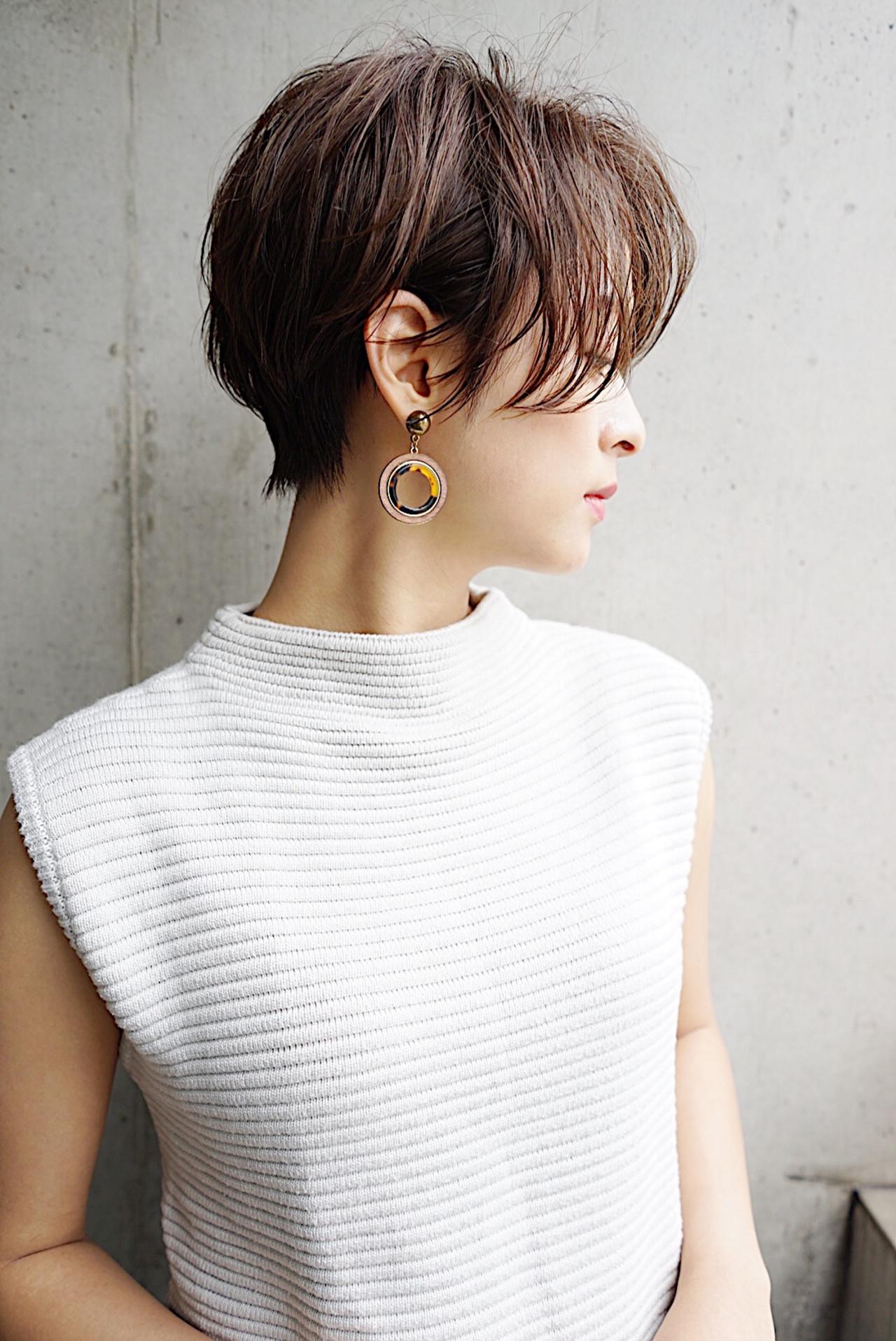 ストレート 大人かわいい 小顔 ショート ヘアスタイルや髪型の写真・画像 | 本田 重人 / GRAFF hair