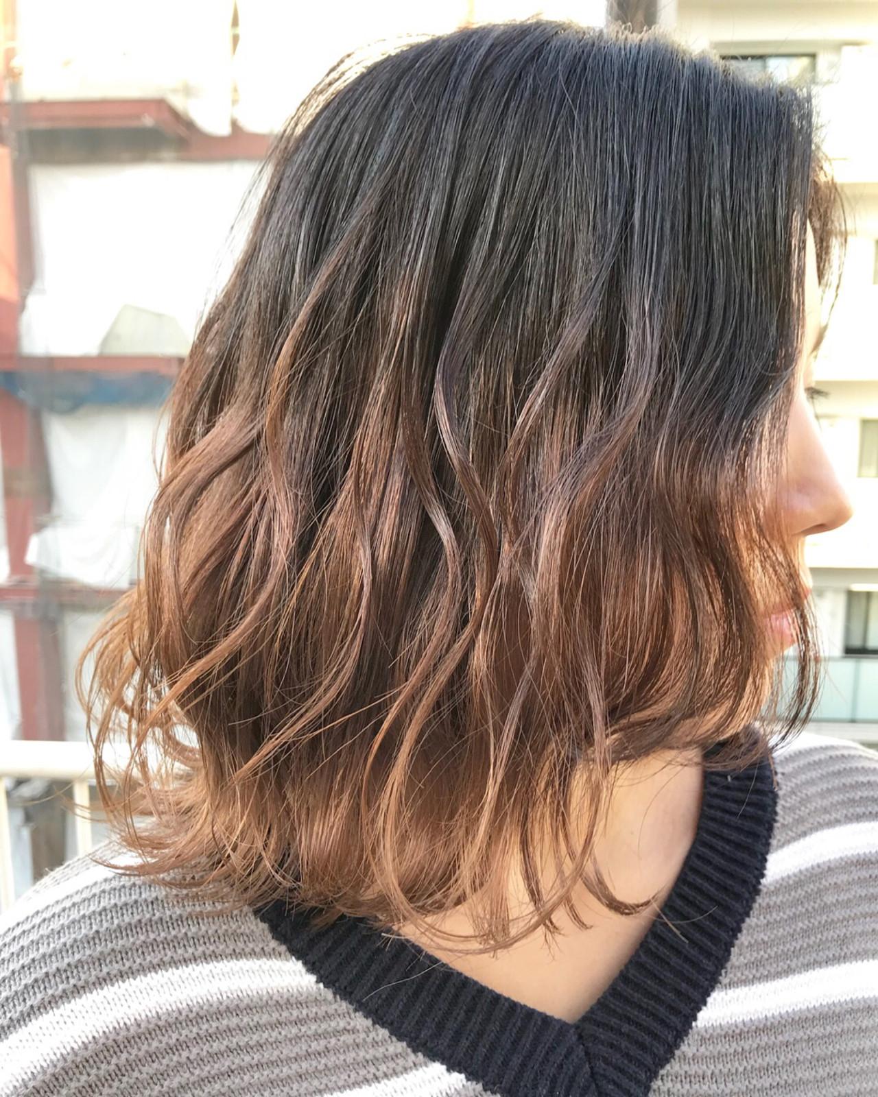 波ウェーブ 透明感 ミディアム グラデーションカラー ヘアスタイルや髪型の写真・画像   MORNING.miya/@1031miya / HAIR MORNING.