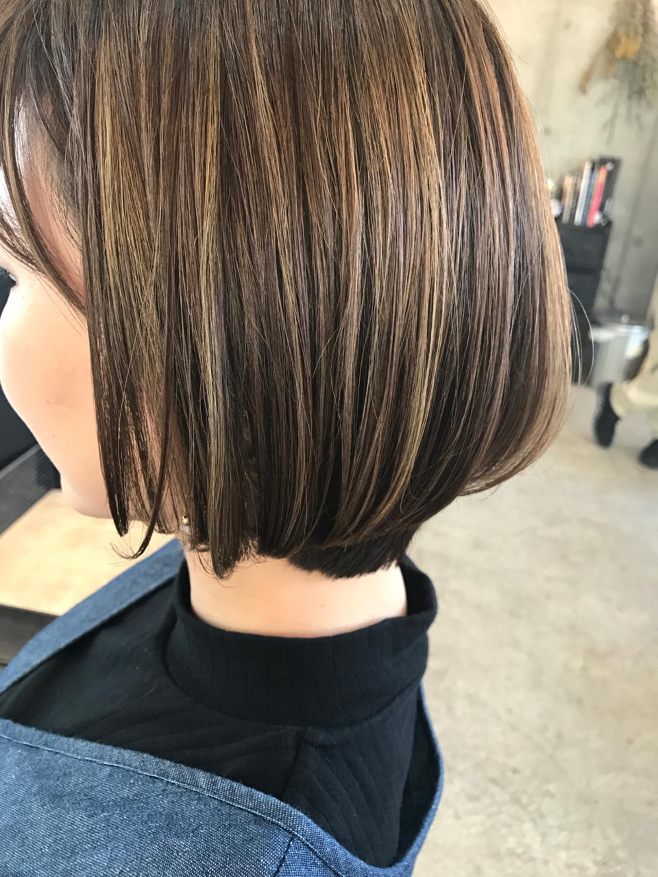 ボブ ローライト イルミナカラー ハイライト ヘアスタイルや髪型の写真・画像 | bond_hiroe / bond