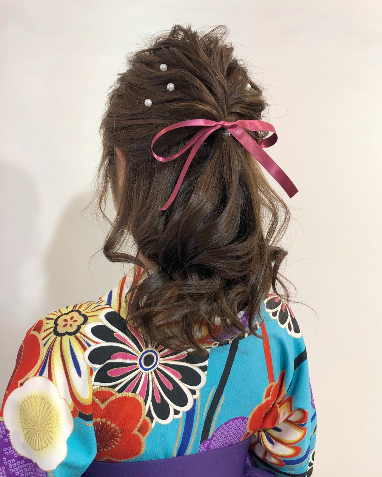 卒業式 ミディアム 和装ヘア 波ウェーブ ヘアスタイルや髪型の写真・画像 | L'atelier Content / L'atelier Content