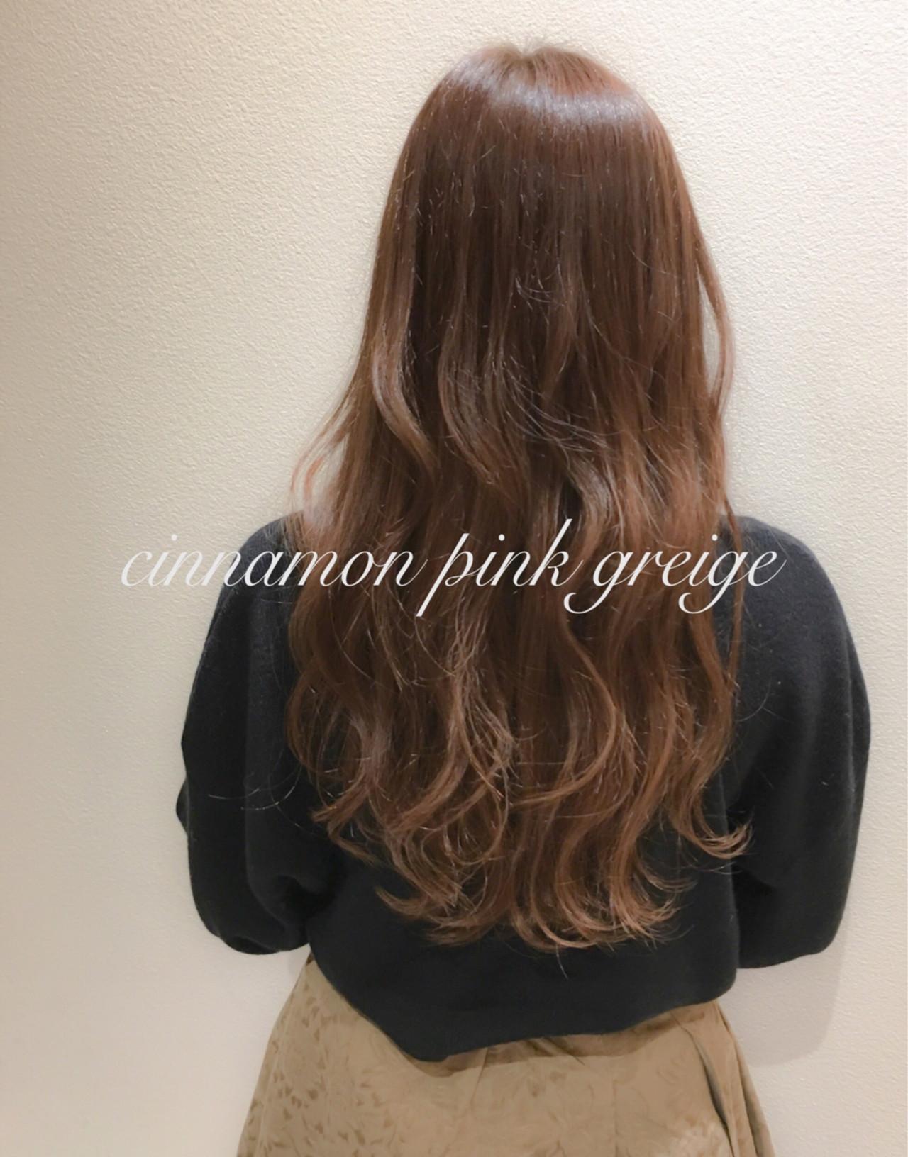 ピンク ピンクアッシュ ロング グレージュヘアスタイルや髪型の写真・画像