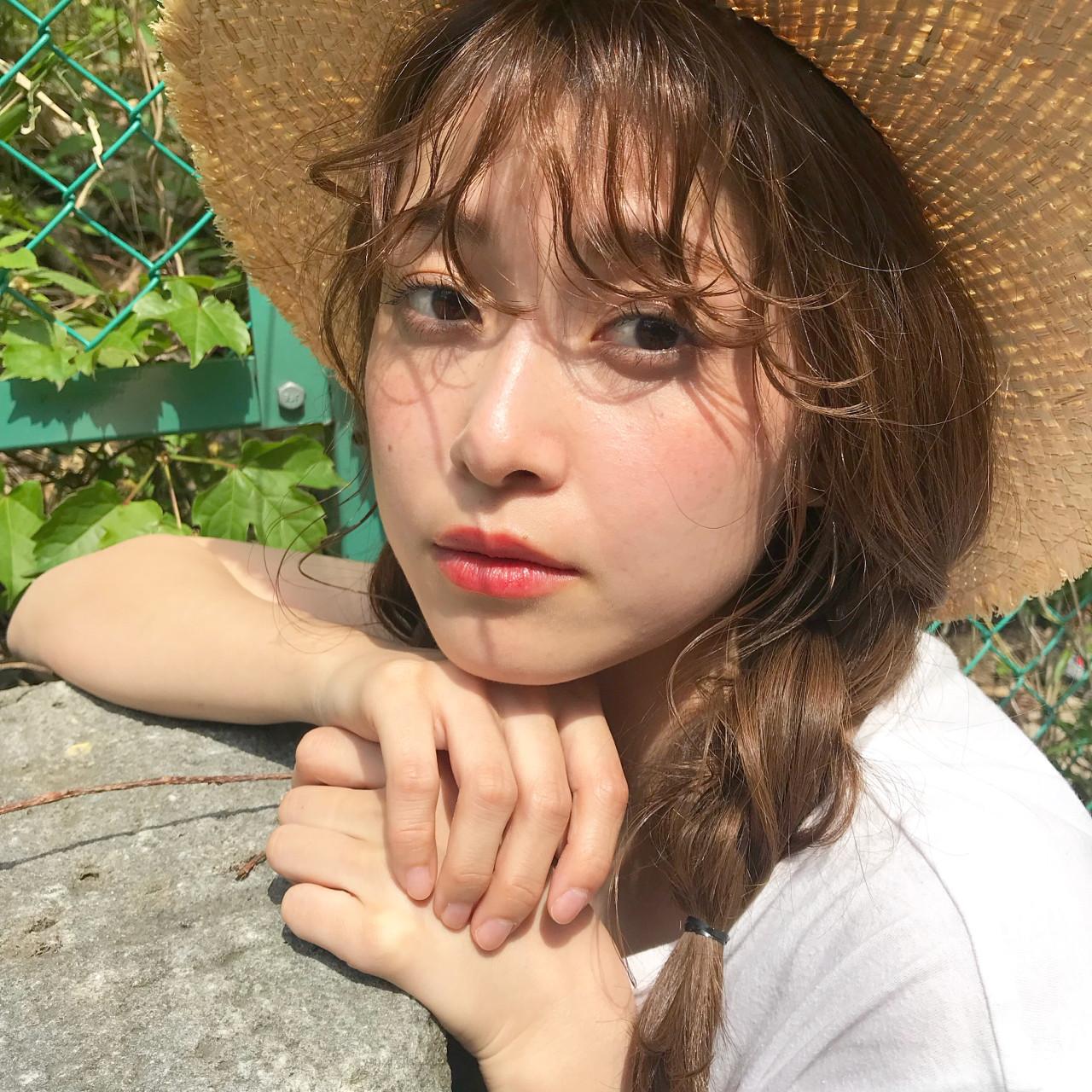 三つ編み ナチュラル 夏 ミディアム ヘアスタイルや髪型の写真・画像 | 伊藤愛子 GARDEN / GARDEN  omotesando