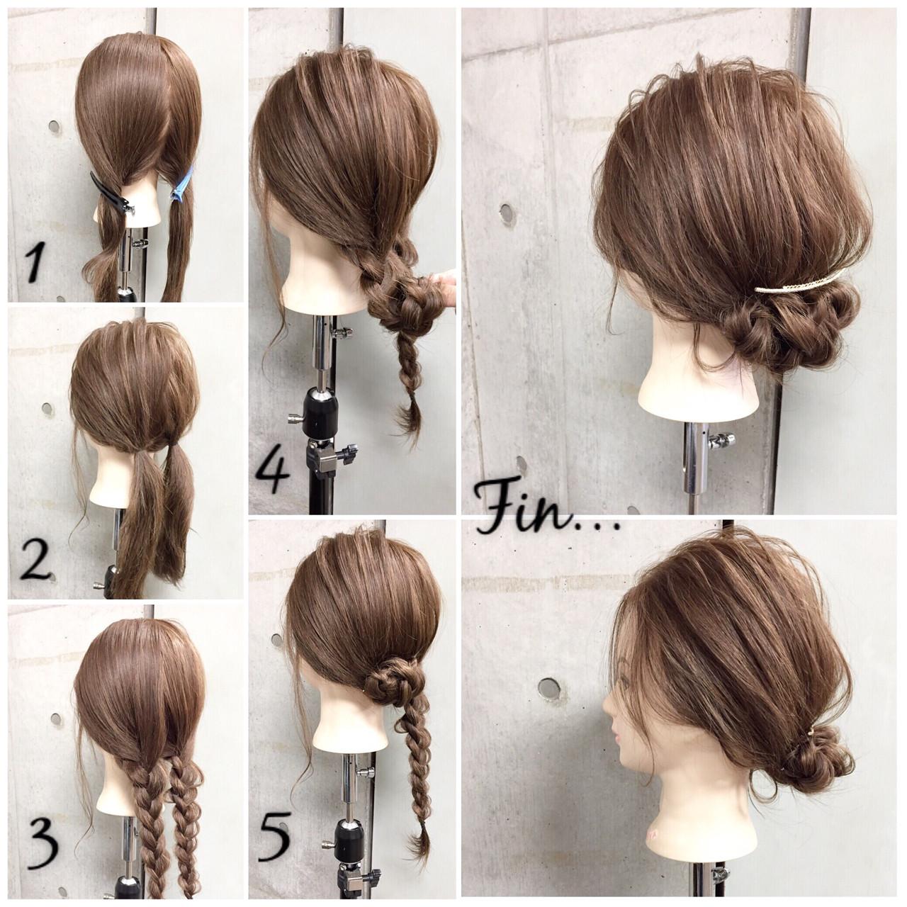 大人女子 セミロング ヘアアレンジ 簡単ヘアアレンジヘアスタイルや髪型の写真・画像