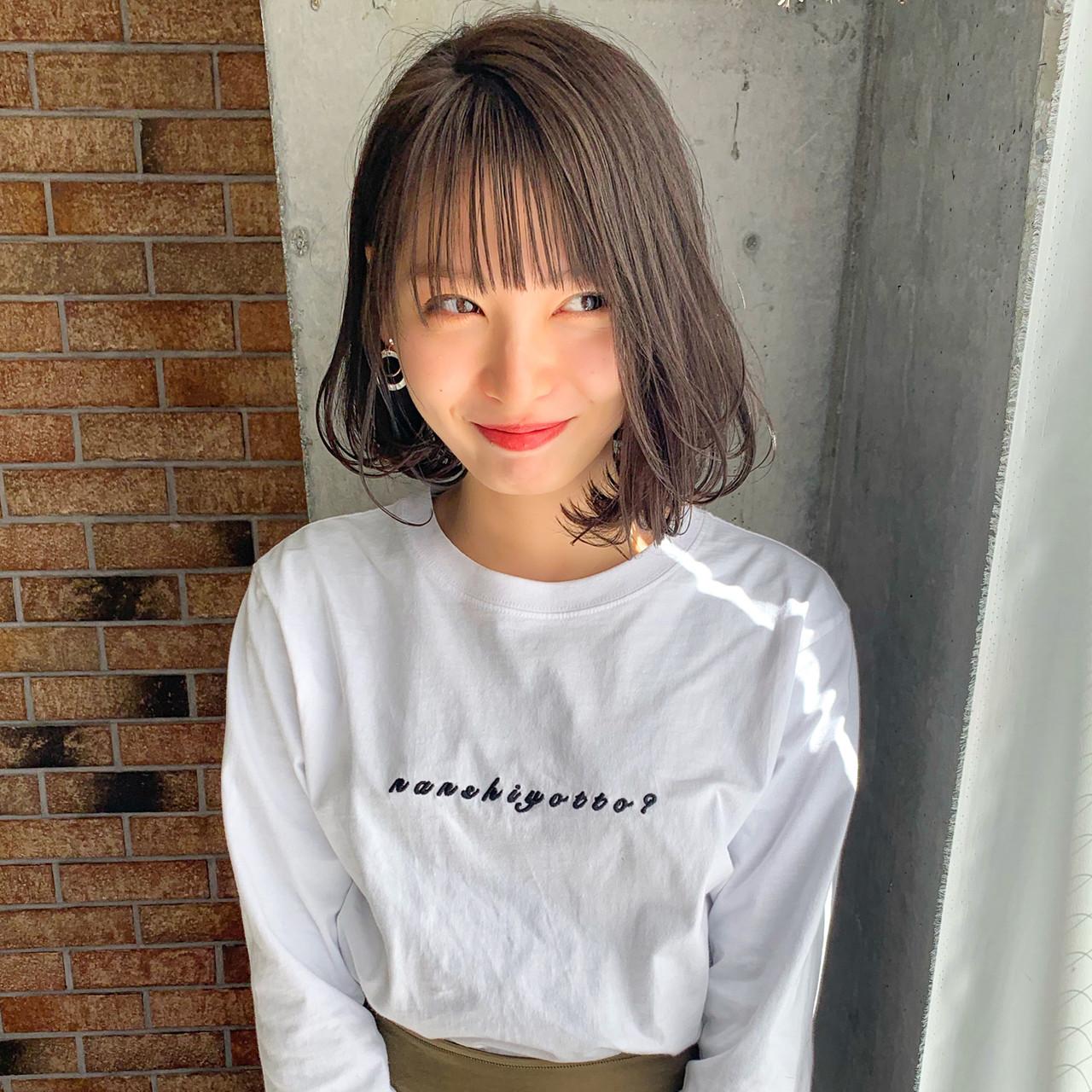 ボブ シースルーバング 小顔ショート ナチュラル ヘアスタイルや髪型の写真・画像   MANOHARU 新屋敷 / MANOHARU