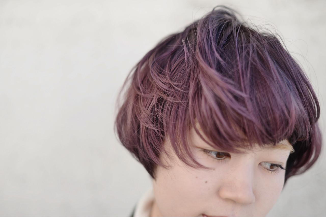 バイオレットアッシュ ハイトーン ボブ パープル ヘアスタイルや髪型の写真・画像 | 根岸和也 / studio menos