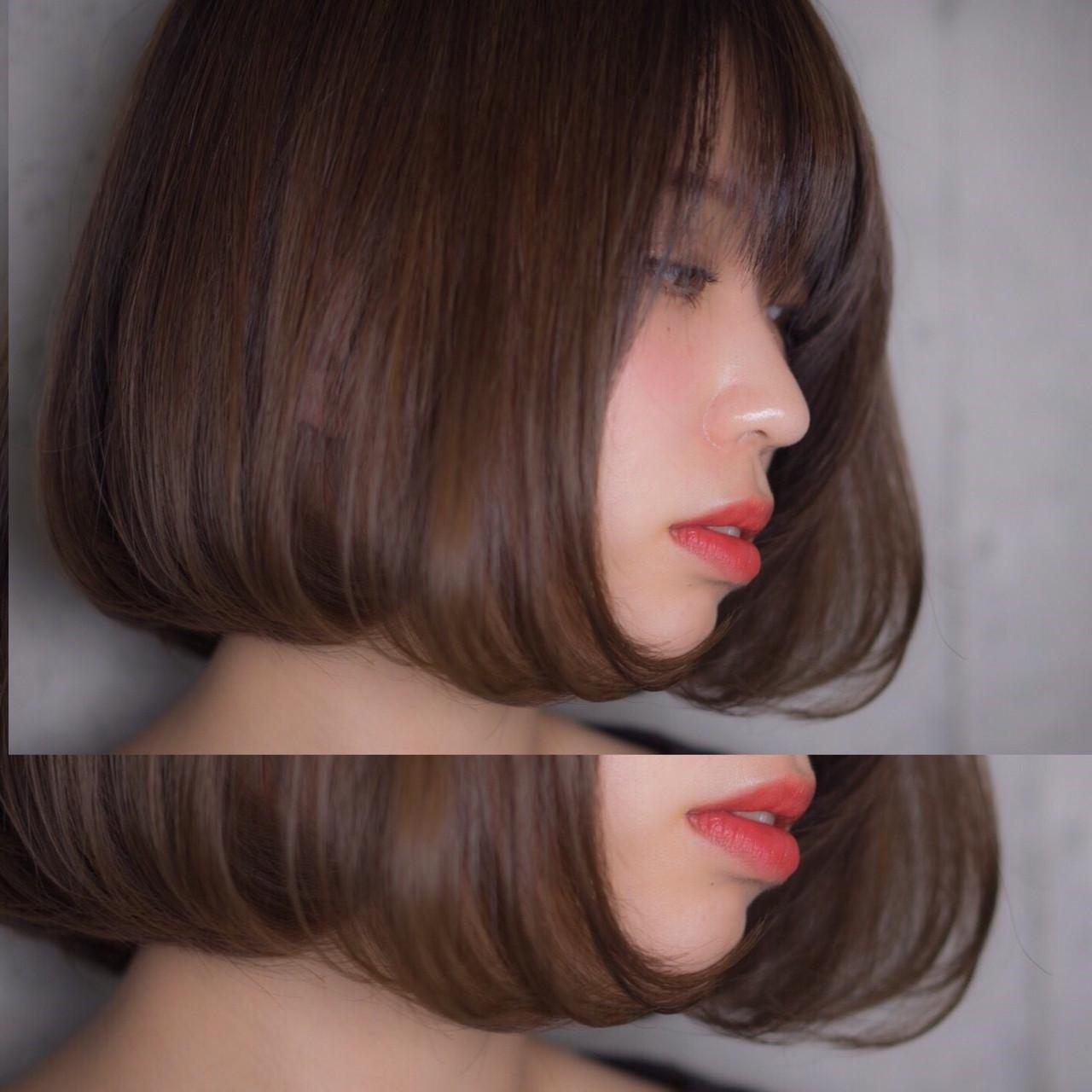 ボブ アンニュイ ハイライト フェミニンヘアスタイルや髪型の写真・画像