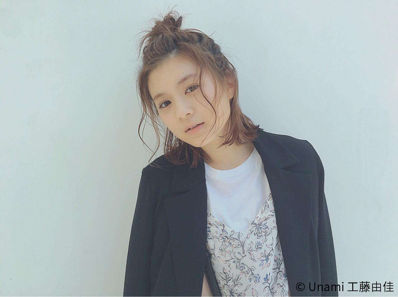 ボブ ヘアアレンジ フェミニン 切りっぱなし ヘアスタイルや髪型の写真・画像 | Unami 工藤由佳 / Unami omotesando