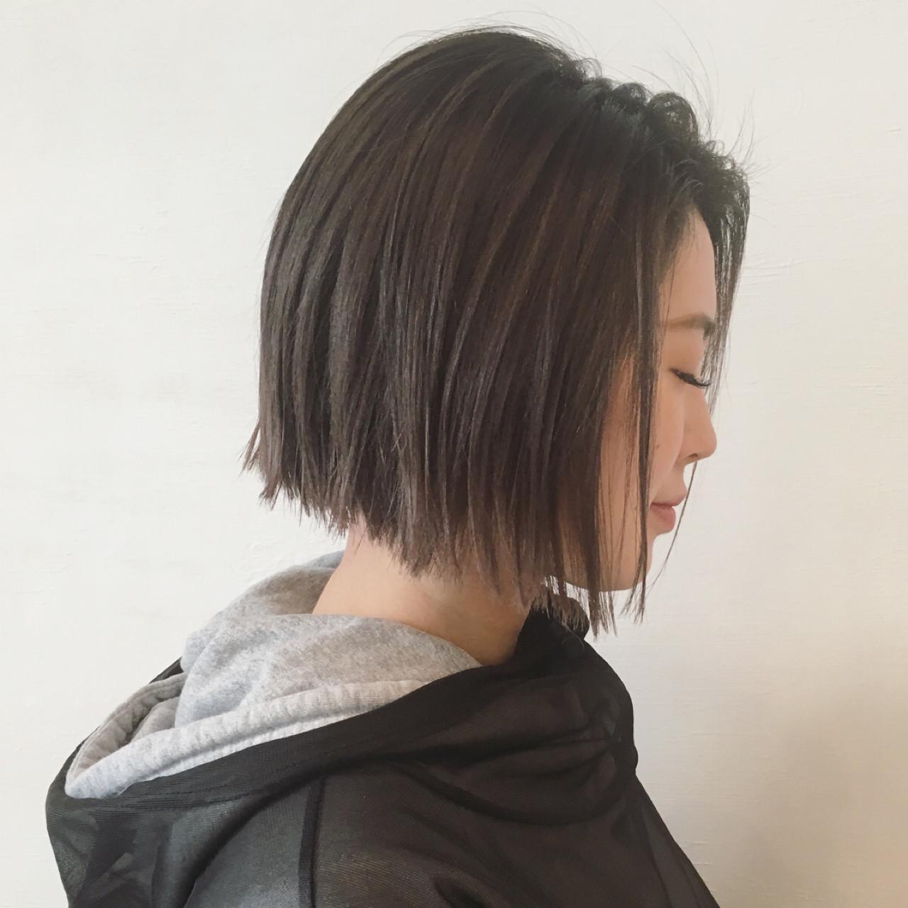 暗髪 ストリート 切りっぱなし アッシュ ヘアスタイルや髪型の写真・画像   三好 佳奈美 / Baco.(バコ)