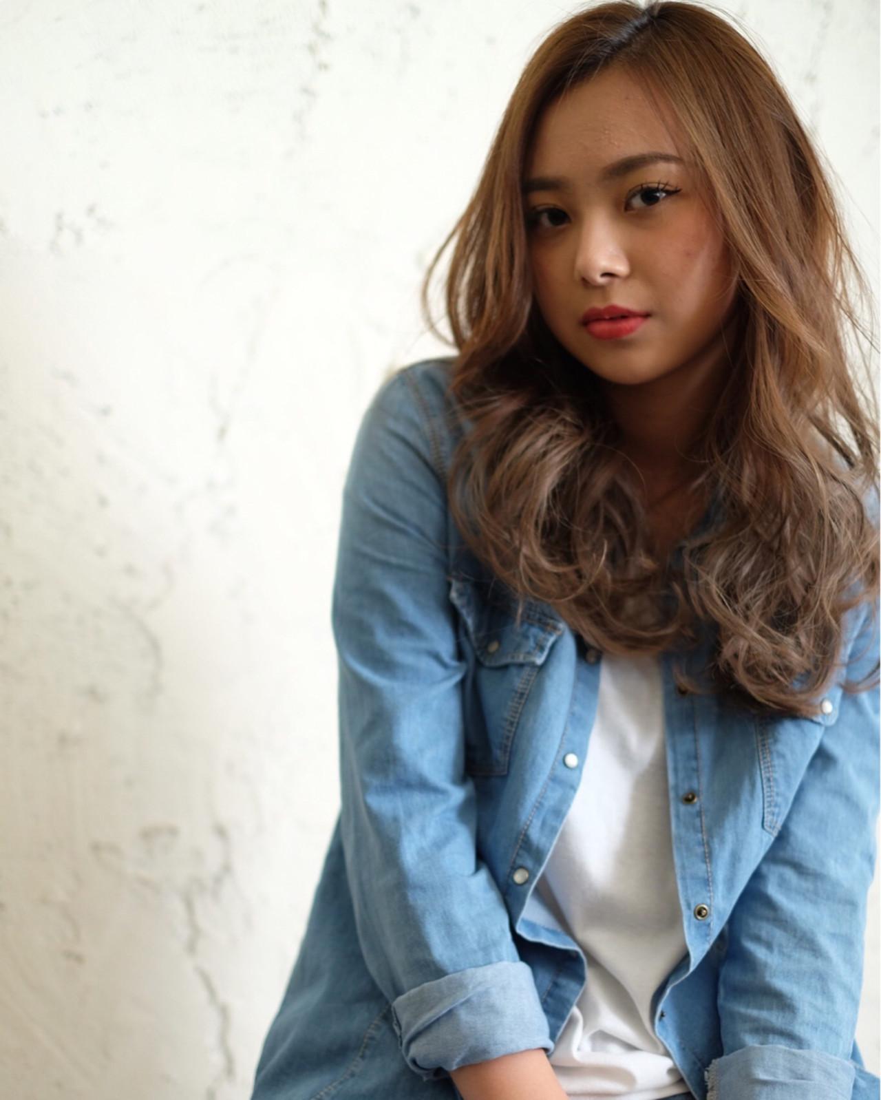 アッシュ セミロング ナチュラル ストリート ヘアスタイルや髪型の写真・画像 | Fujimoto Kazuhito / hair resort Lino