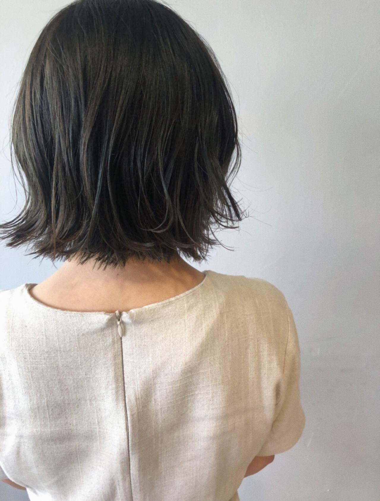 ボブ ミニボブ ショートヘア ナチュラルヘアスタイルや髪型の写真・画像