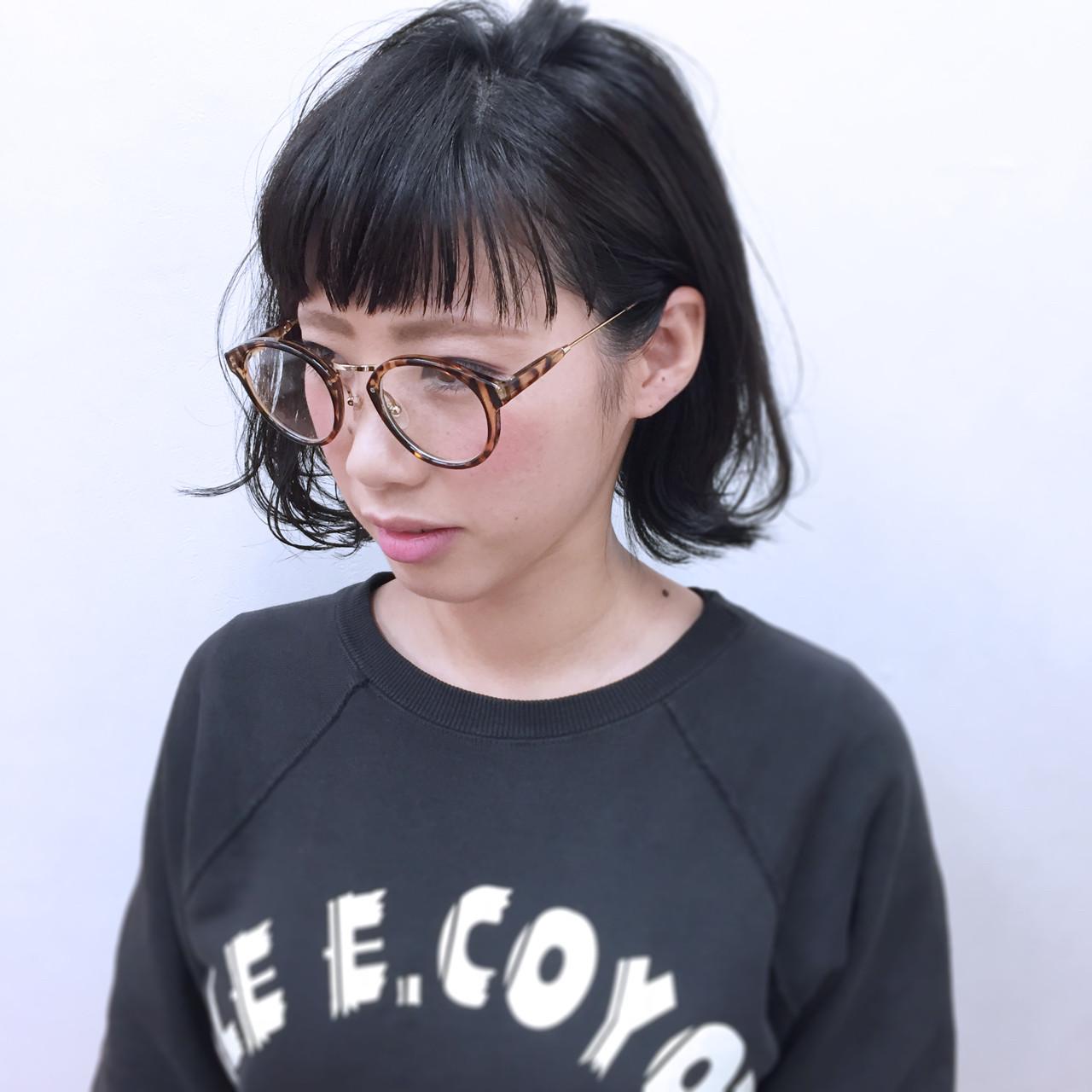 小顔 ナチュラル 暗髪 ボブ ヘアスタイルや髪型の写真・画像   YSO / 電髪倶楽部street