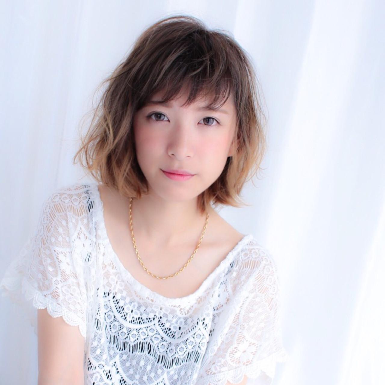 ストリート パーマ ボブ 前髪あり ヘアスタイルや髪型の写真・画像 | 平松 伸悟 / Lycka上飯田店