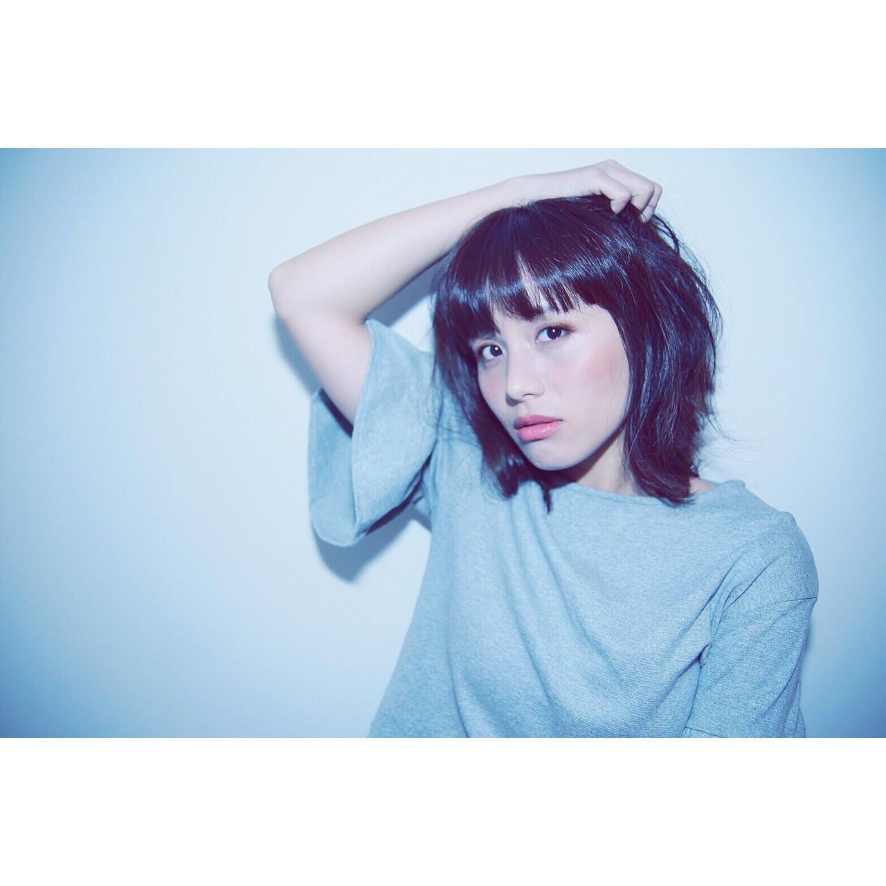ミディアム 秋 かっこいい ロブ ヘアスタイルや髪型の写真・画像 | サン /