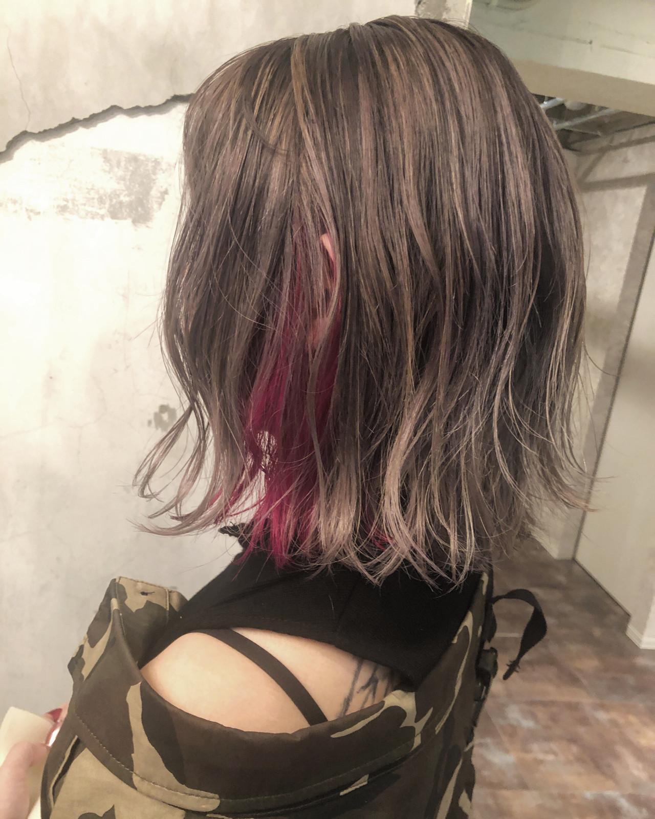 ハイライト ナチュラル ミディアム バレイヤージュ ヘアスタイルや髪型の写真・画像 | 田渕 英和/vicushair / vicushair
