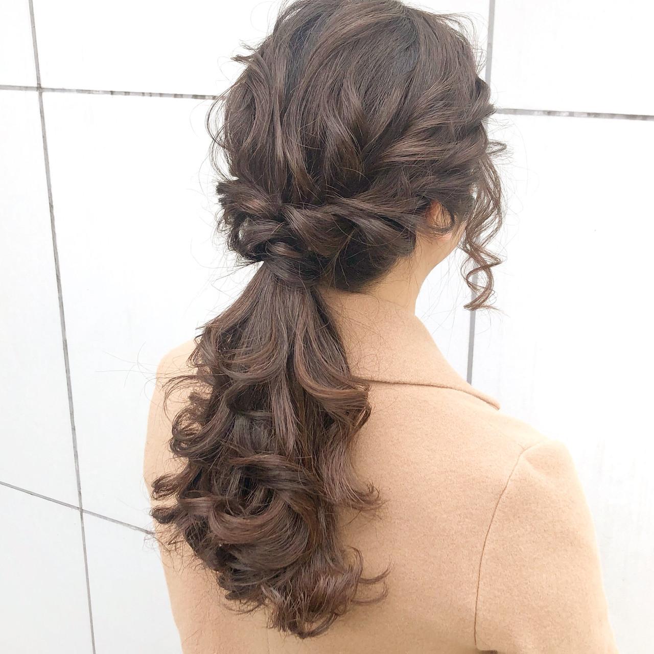ロング デート ヘアアレンジ 簡単ヘアアレンジヘアスタイルや髪型の写真・画像