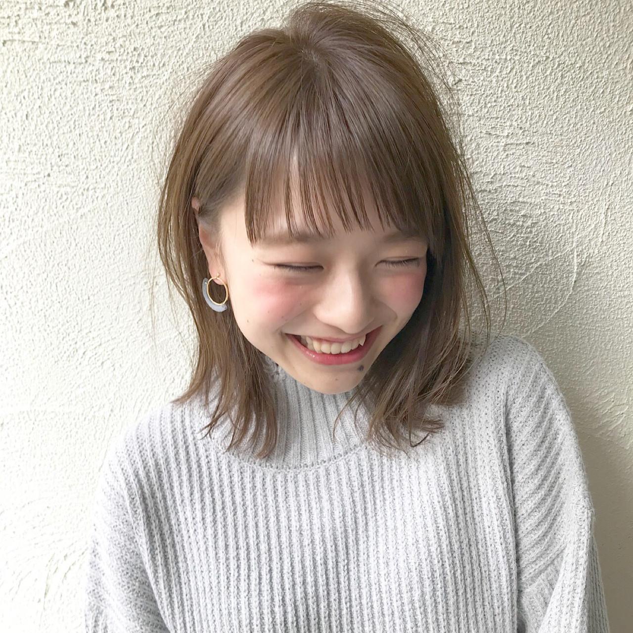 ロブ ボブ ナチュラル こなれ感 ヘアスタイルや髪型の写真・画像 | 切りっぱなしレイヤー&パーマ Un ami 増永 / Un ami omotesando
