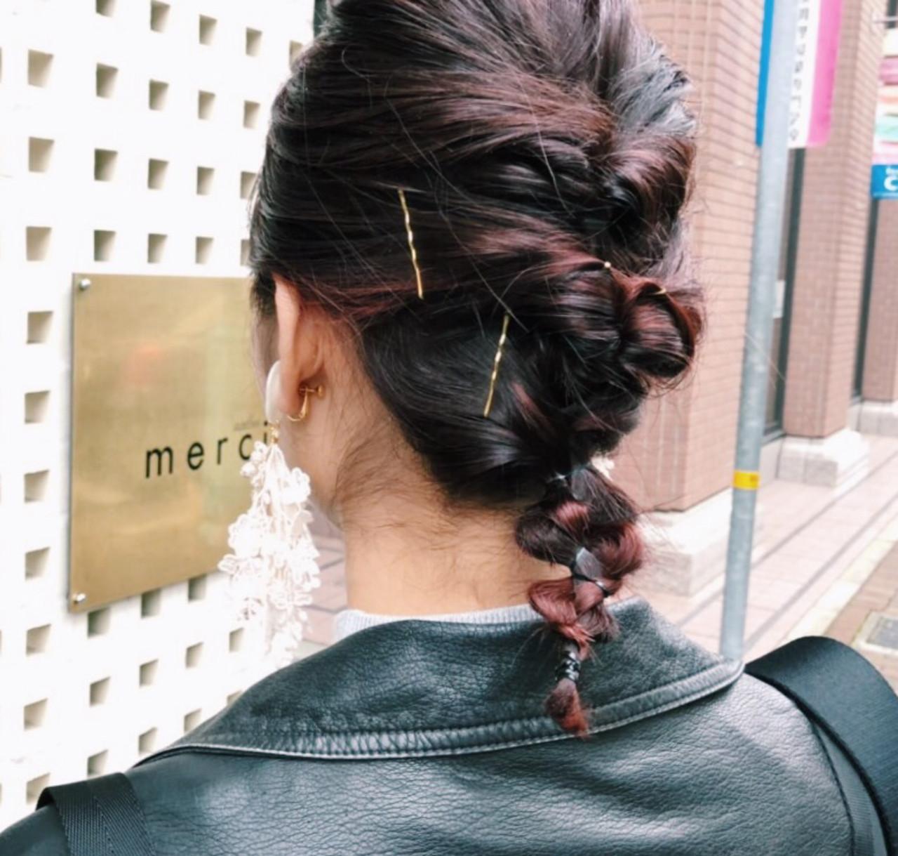 簡単ヘアアレンジ ミディアム モード デート ヘアスタイルや髪型の写真・画像 | 濱崎 綾 / merci