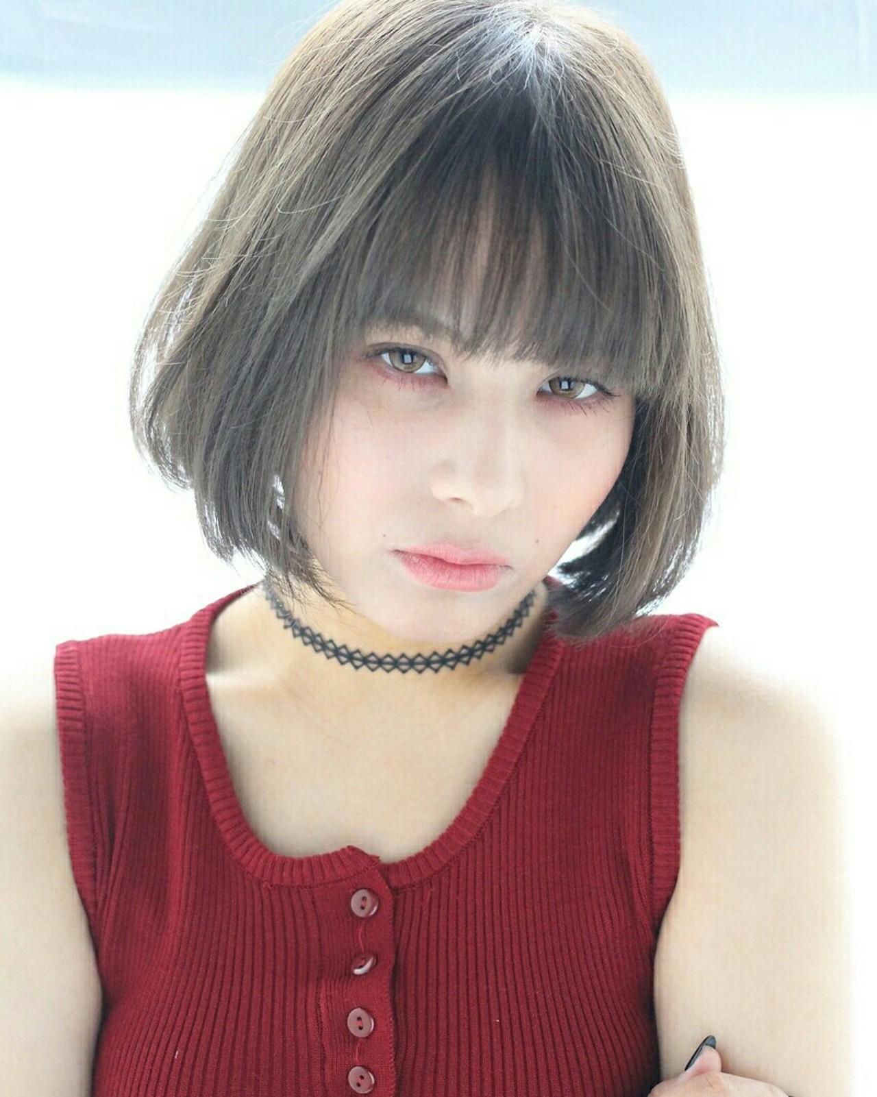 ストレート アッシュ モード グラデーションカラーヘアスタイルや髪型の写真・画像