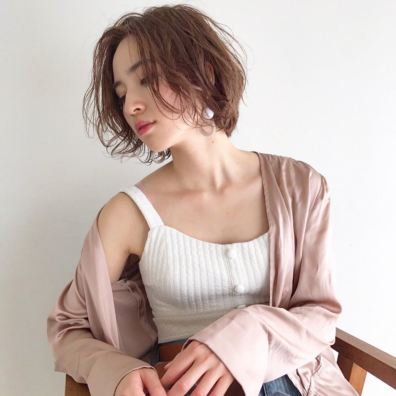 ショート パーマ 外国人風 秋ヘアスタイルや髪型の写真・画像