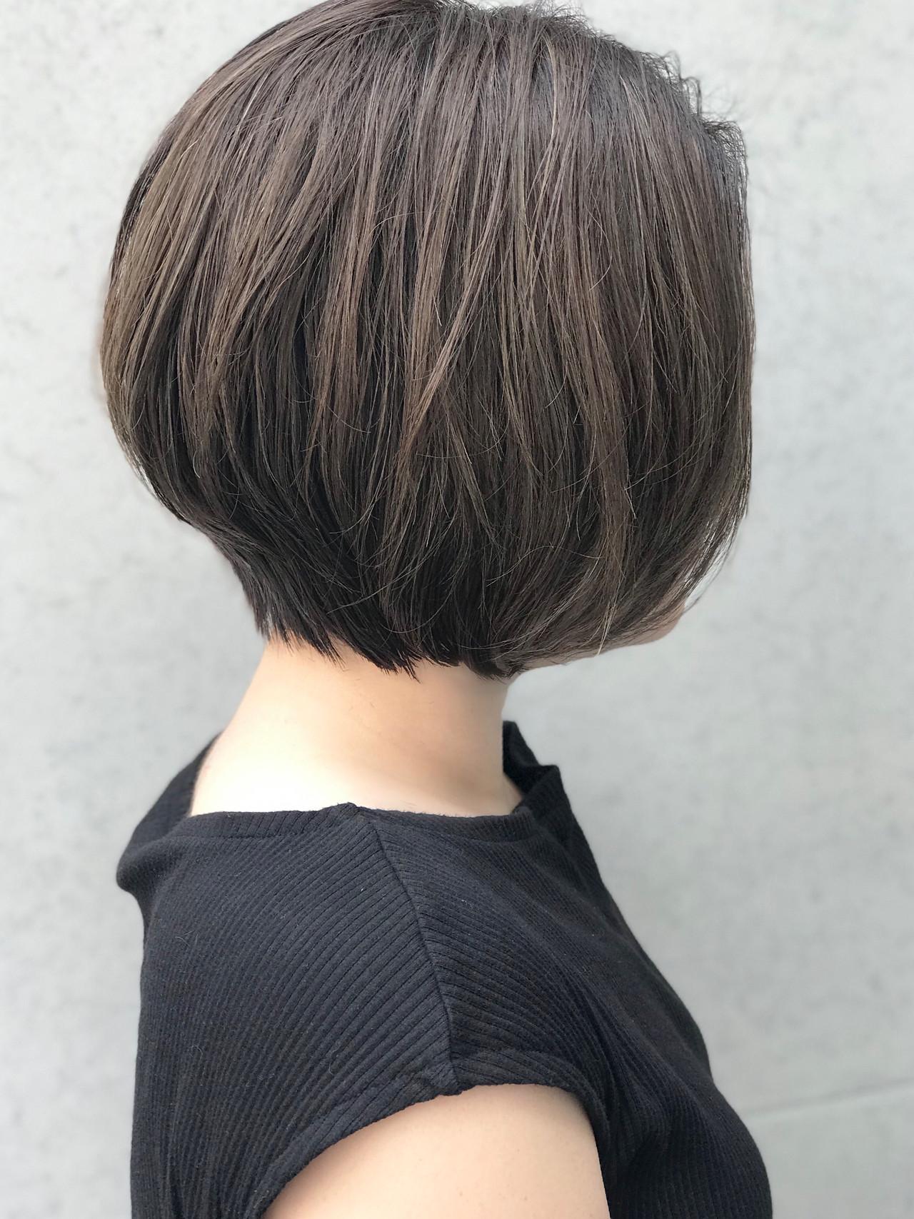ショートボブ 前下がりボブ ショートヘア ボブヘアスタイルや髪型の写真・画像