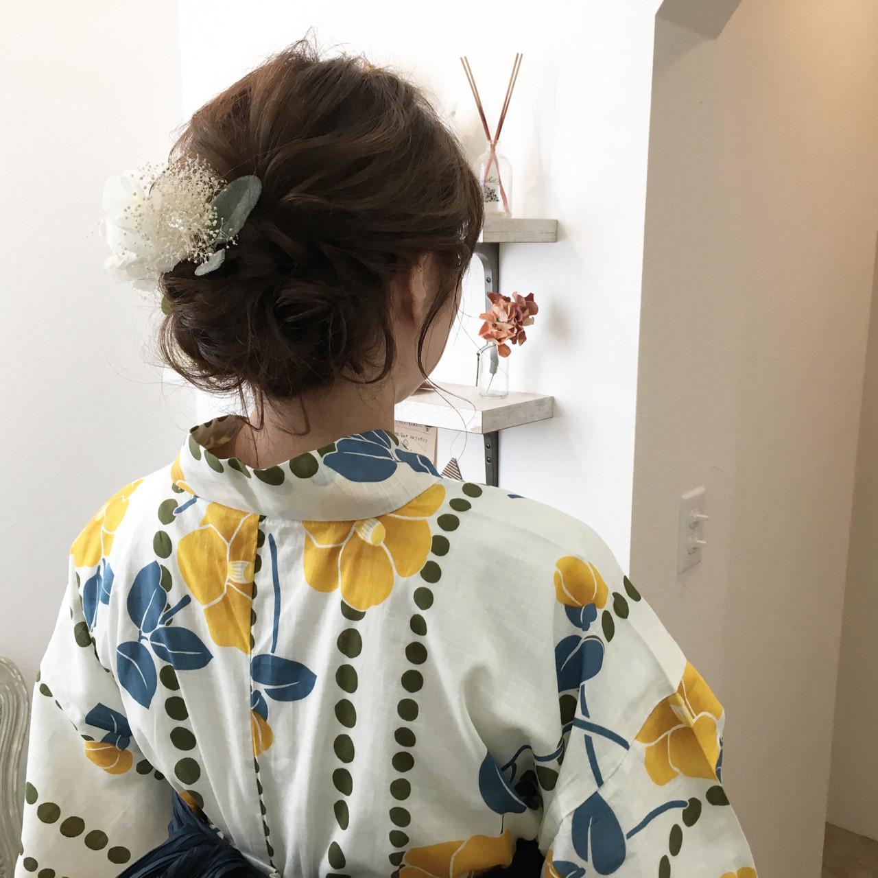 ヘアアレンジ 和装 セミロング お祭りヘアスタイルや髪型の写真・画像