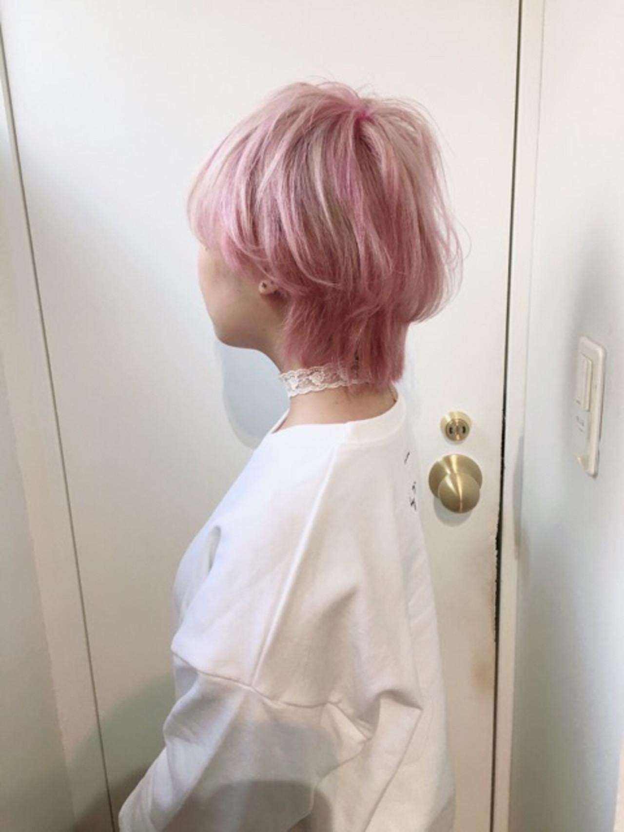 パープルアッシュ ラベンダーピンク ショート ピンクアッシュ ヘアスタイルや髪型の写真・画像 | COM PASS 太一 / COM PASS
