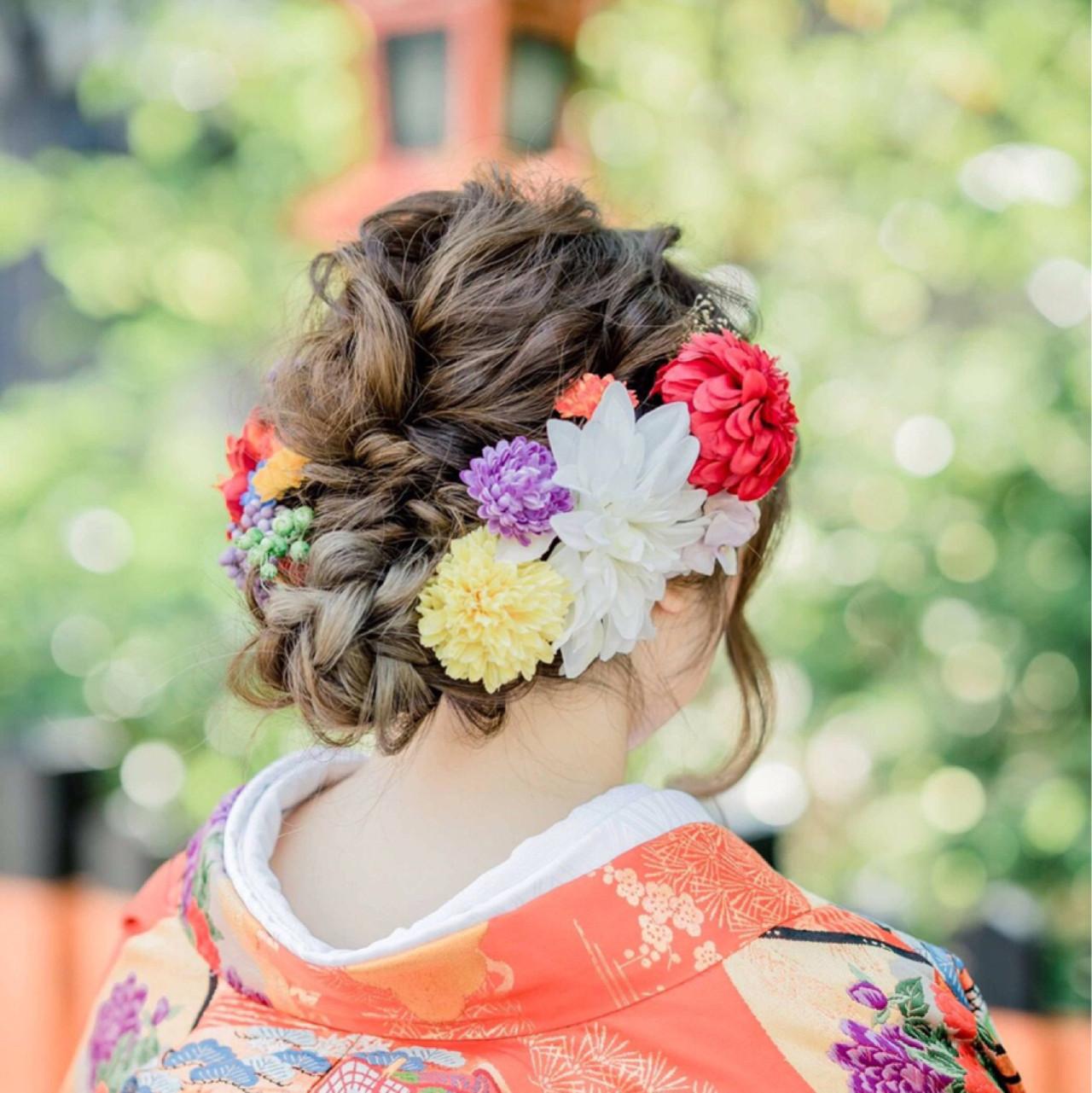 成人式 アッシュ ロング ヘアアレンジヘアスタイルや髪型の写真・画像