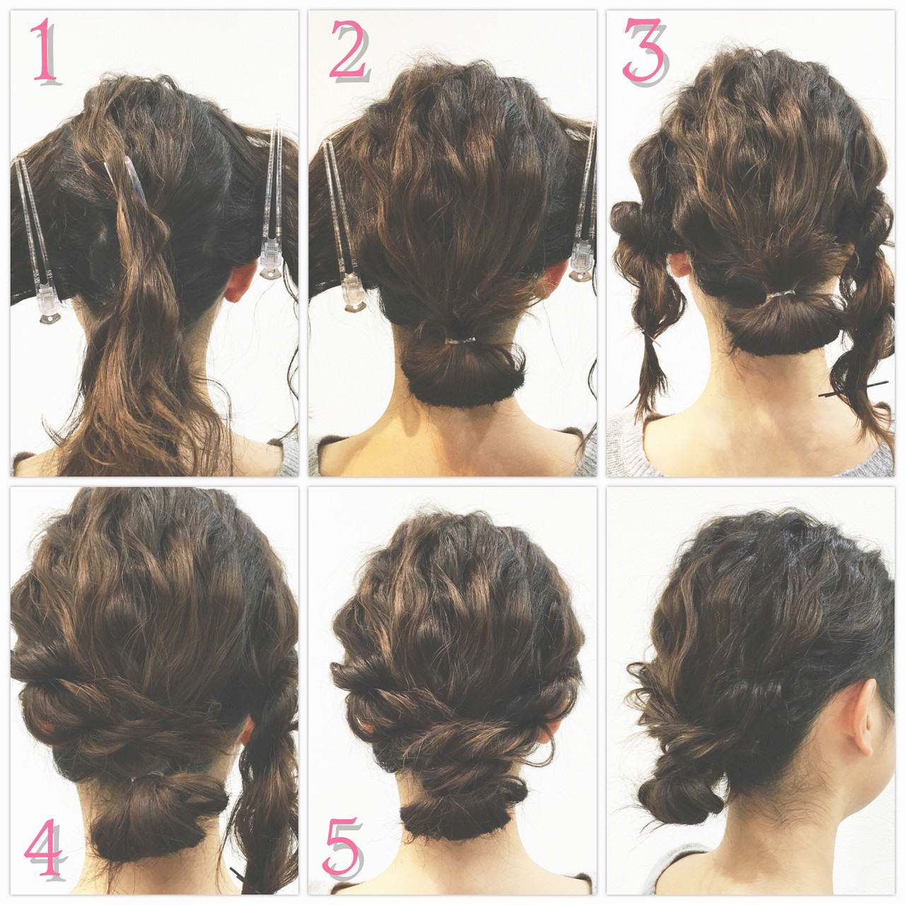 ロープ編み ショート シニヨン 簡単ヘアアレンジヘアスタイルや髪型の写真・画像