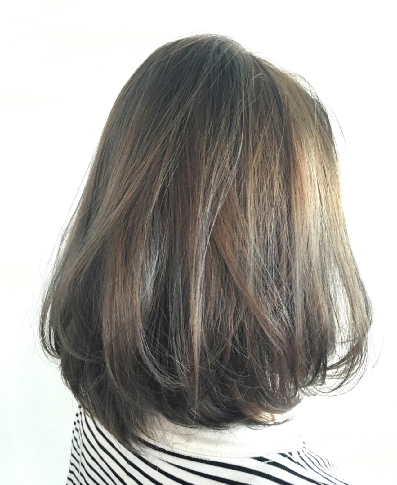 グラデーションカラー ナチュラル ボブ ハイライトヘアスタイルや髪型の写真・画像