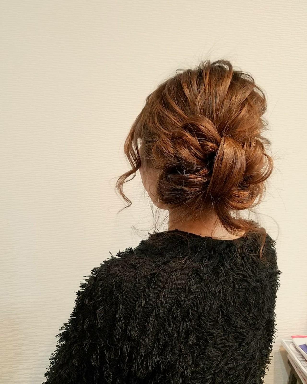 アップスタイル ヘアアレンジ ミディアム ガーリー ヘアスタイルや髪型の写真・画像 | mai / HAIR SALON STELLA