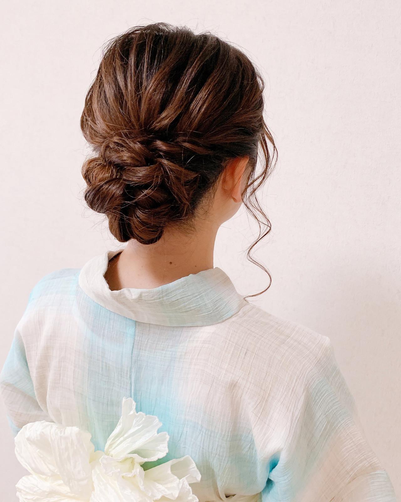 エレガント ヘアアレンジ 着物 お呼ばれ ヘアスタイルや髪型の写真・画像 | Moriyama Mami / 福岡天神ヘアセット・着付け専門店【Three-keys】