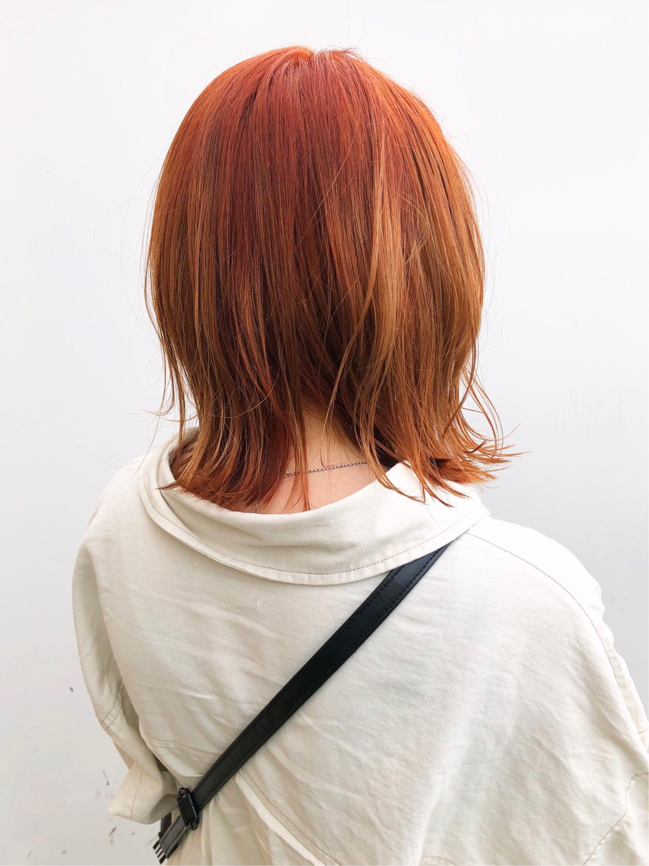 ストリート 外ハネ オレンジベージュ 切りっぱなしボブ ヘアスタイルや髪型の写真・画像 | 出塩 浩之 / MORIO FROM LONDON さいたま新都心