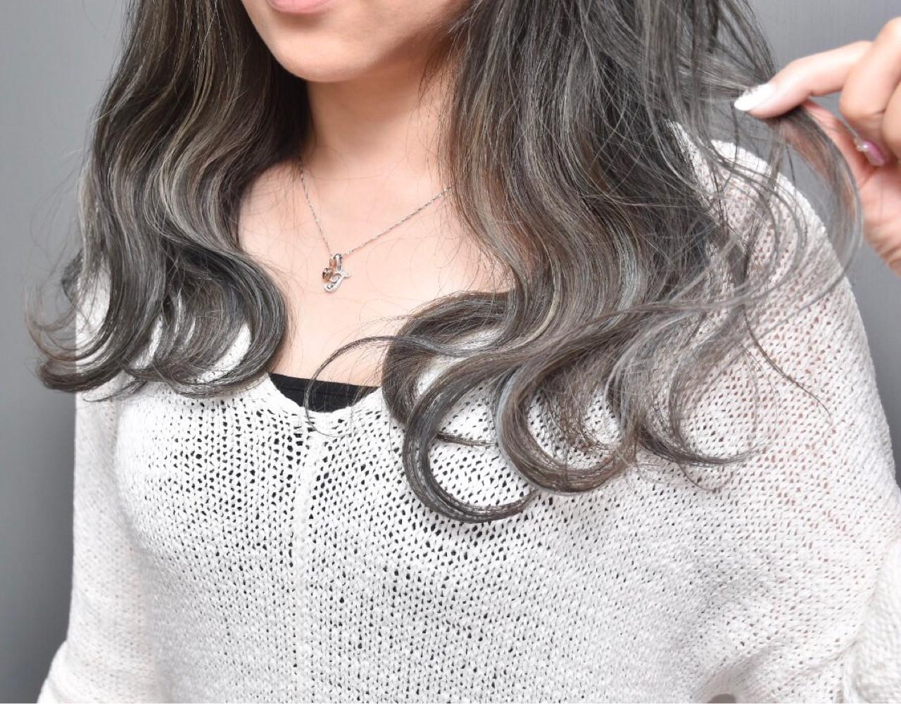 ハイライト セミロング 外国人風 外国人風カラーヘアスタイルや髪型の写真・画像