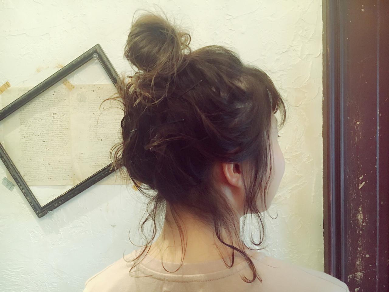 お団子 ゆるふわ ガーリー ショート ヘアスタイルや髪型の写真・画像 | 藤田成美 / bado