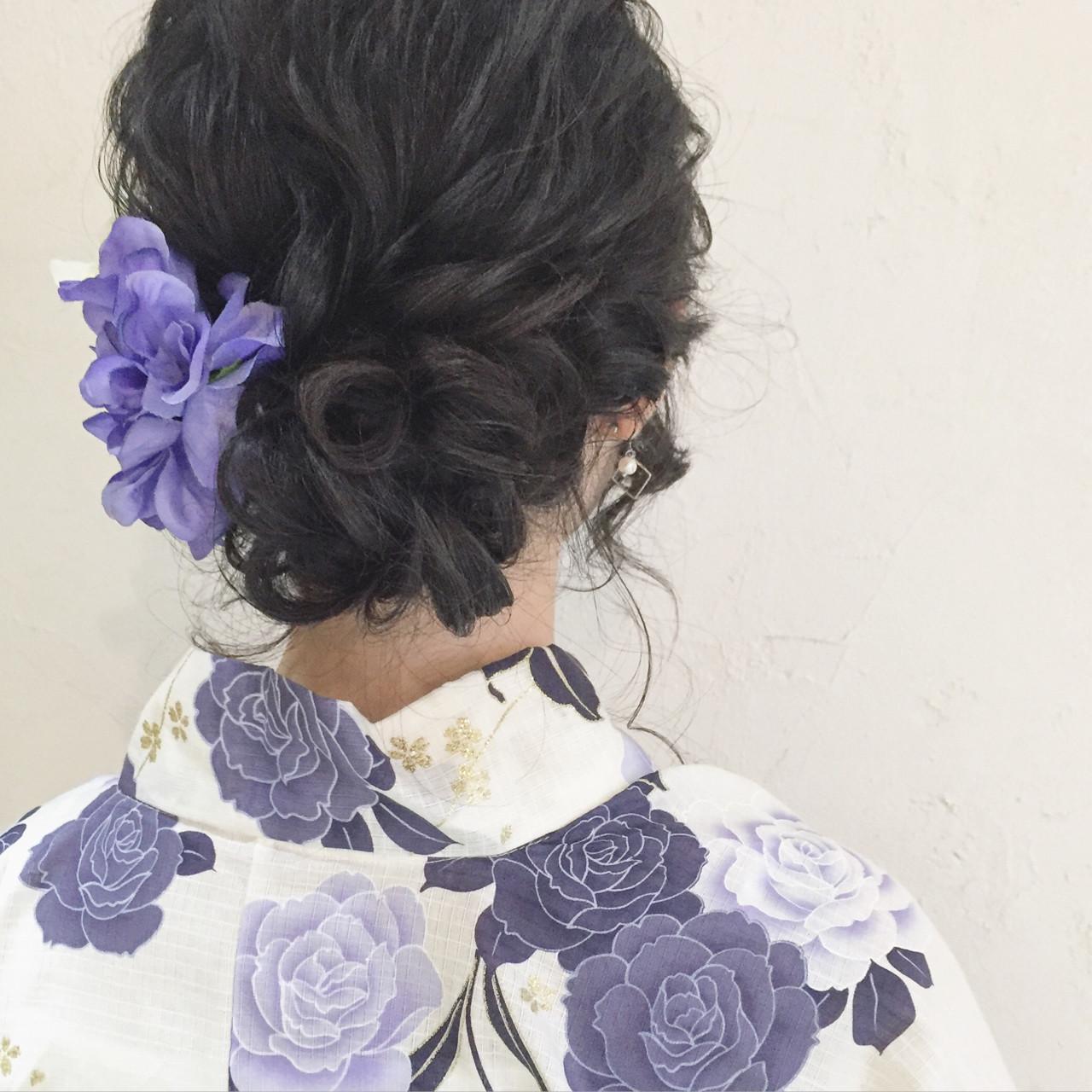 和装 黒髪 ヘアアレンジ 夏 ヘアスタイルや髪型の写真・画像 | ange maco / ange