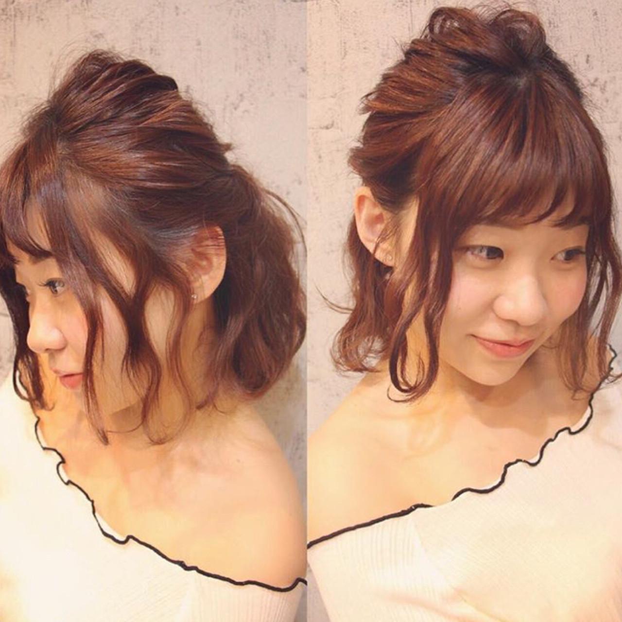 ヘアアレンジ 簡単ヘアアレンジ ボブ ナチュラル ヘアスタイルや髪型の写真・画像 | miyu /