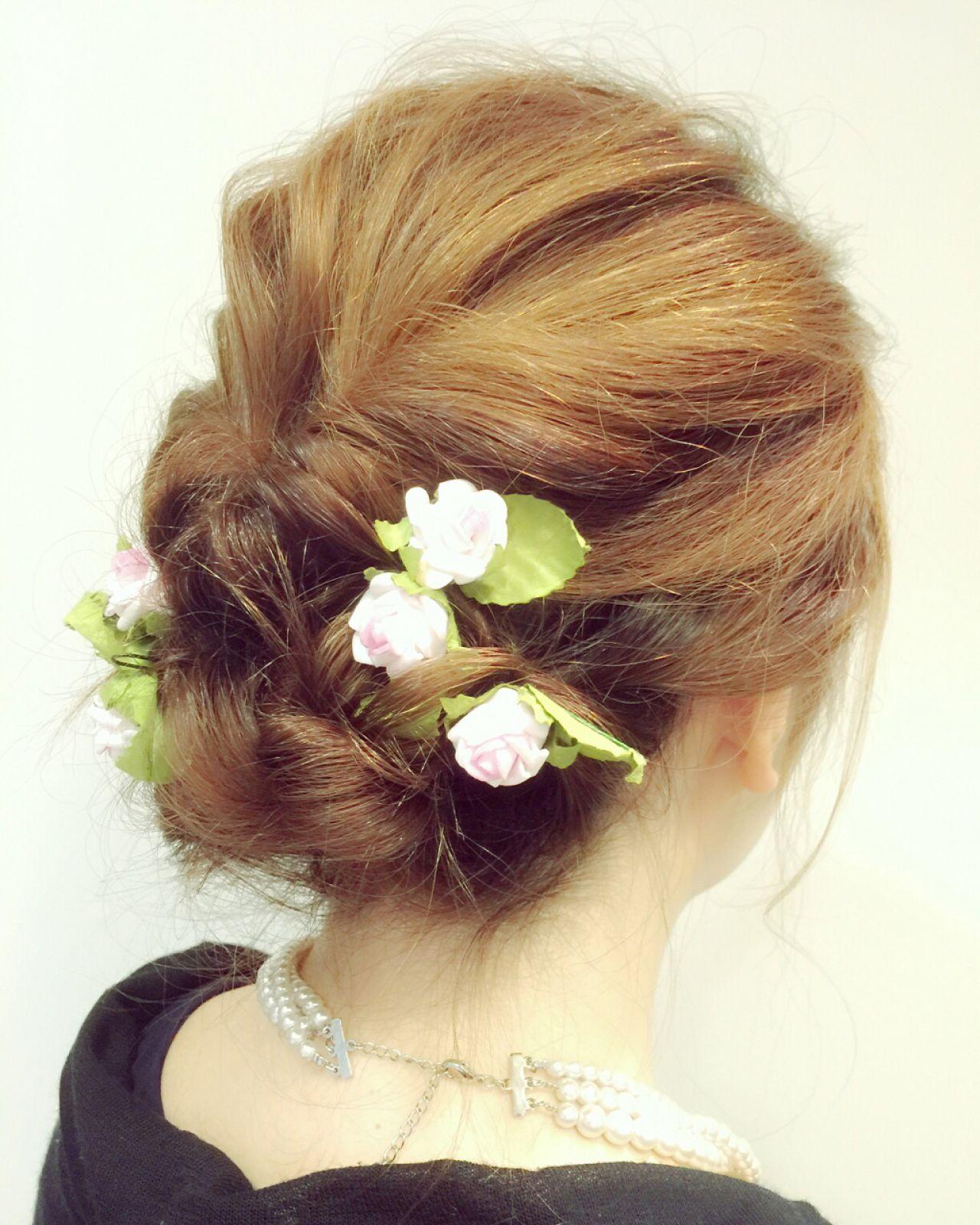 ミディアム 簡単ヘアアレンジ 結婚式 くるりんぱ ヘアスタイルや髪型の写真・画像 | 栗山 卓也 / ヘアーサロンシェール