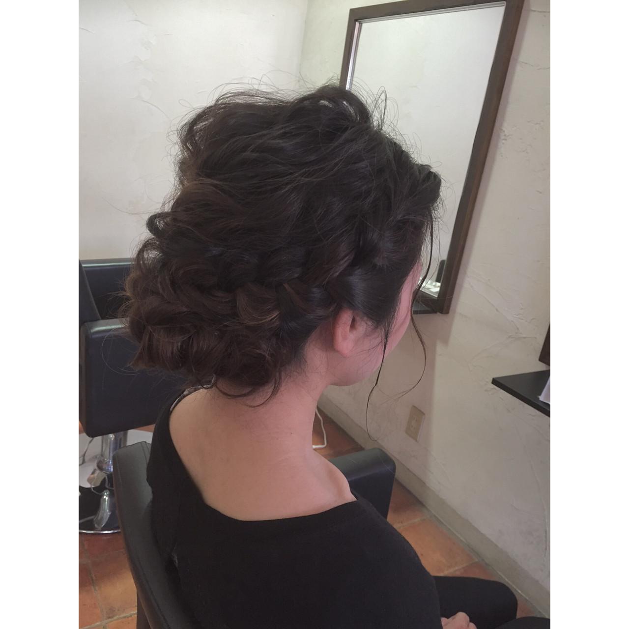 まとめ髪 お団子 編み込み ロング ヘアスタイルや髪型の写真・画像 | 和田 早代 / Diversion