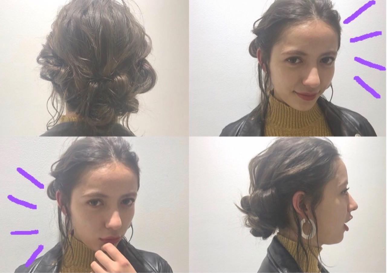 簡単ヘアアレンジ ミディアム ゆるふわ ショート ヘアスタイルや髪型の写真・画像 | Rie Akita / LOAVE omotesando