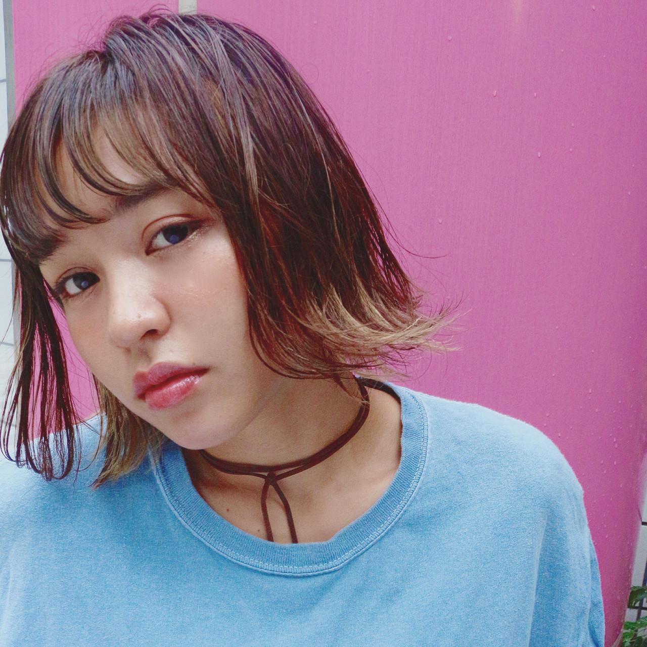 外国人風 オン眉 ボブ 切りっぱなし ヘアスタイルや髪型の写真・画像 | ◆Takumi◆ / Beronica